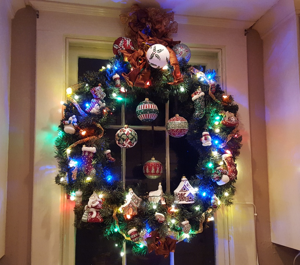 Photograph of wreath with Mattarusky ornaments